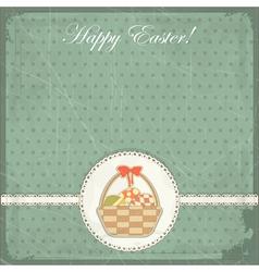 easter card in vintage style - basket of easter eg vector image