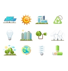Green power icons Eco clean energy set vector image
