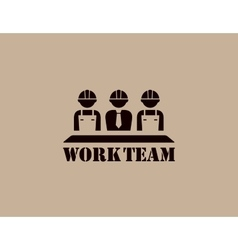 industrial icon with work team vector image vector image