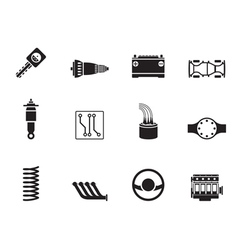 Silhouette Realistic Car Parts and Services icons vector image vector image