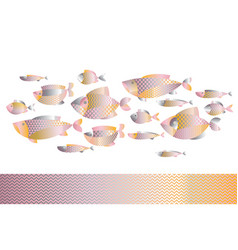 abstract assorted gold fish pattern vector image vector image