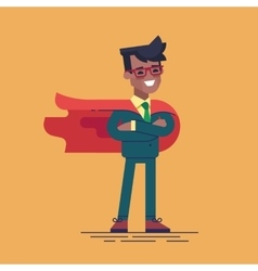 Black man in formal suit and red cape superhero vector image