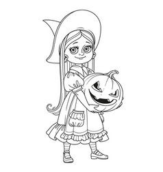 cute girl in witch costume holding a large pumpkin vector image