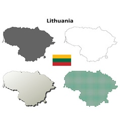 Lithuania outline map set vector image vector image