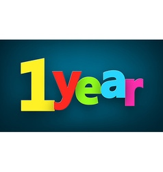 one year paper sign vector image vector image