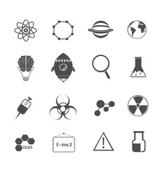science chemical and physic icons set vector image vector image
