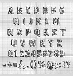 sketch font set on paper abc sign vector image vector image
