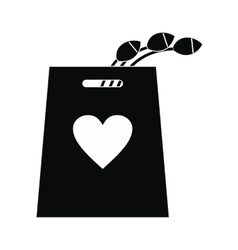 Tulips in the shopping bag icon vector image