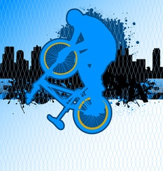 bmx cyclist template vector on urban grunge backgr vector image vector image
