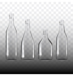 set of transparent empty bottles vector image