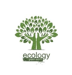 tree and hands Logo icon vector image