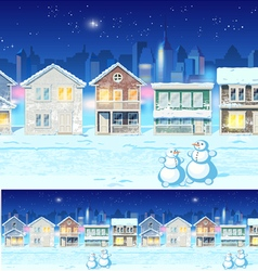 Winter suburb at night vector image vector image