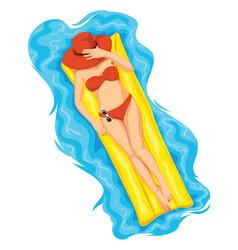 woman sunbathing on pool raft vector image