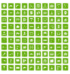 100 construction icons set grunge green vector