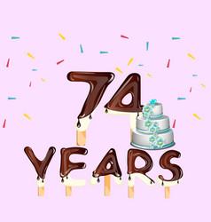 74 years happy birthday card vector
