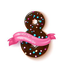 8 march doughnut women day holiday vector image