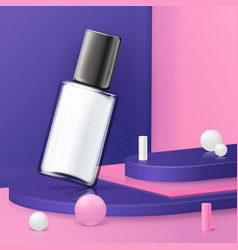 Abstract scene podium and cosmetics bottle vector