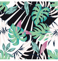 abstract tropical pattern from leaves black white vector image