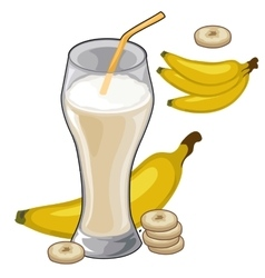 Banana milkshake in glass with straw vector