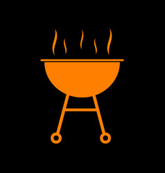 barbecue simple sign orange icon on black vector image
