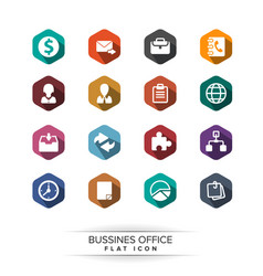 Basic business icon set flat long shadow style vector