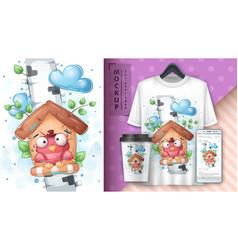 Birch birdhouse - poster and merchandising vector