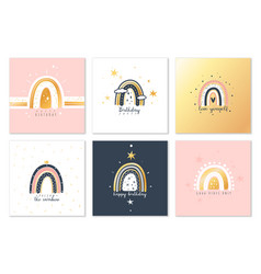 boho rainbows cards cute modern rainbow square vector image