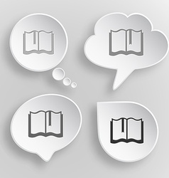 Book White flat buttons on gray background vector