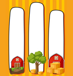 border template with red barns vector image