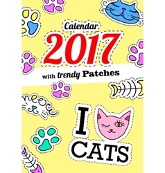 Calendar 2017 with cats In cartoon 80s-90s comic vector