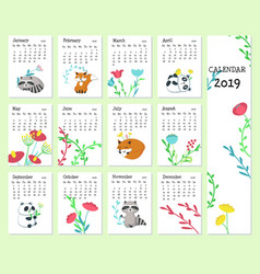 Calendar 2019 template with cute animals vector