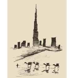 caravan camels dubai city skyline silhouette vector image