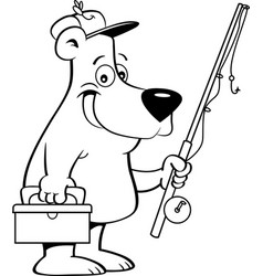 cartoon bear holding a fishing rod vector image