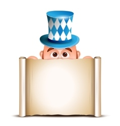 Cartoon Leprechaun in a bavarian hat Card for vector