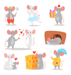 Cartoon mouse mousy animal character rodent vector