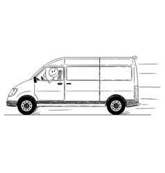 Cartoon of driver of generic delivery van showing vector