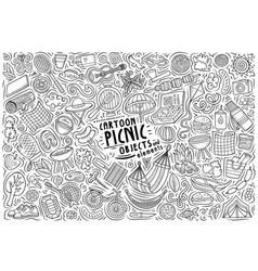 Cartoon set picnic theme items objects vector