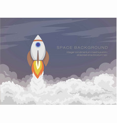 cartoon space rocket flies into open space vector image