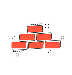 cartoon wall brick icon in comic style wall sign vector image