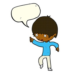 Cartoon worried boy pointing with speech bubble vector