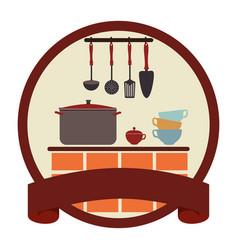 circular emblem with ribbon and kitchen set vector image vector image