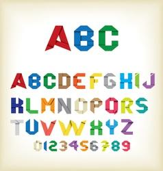 Colorful origami alphabet vector