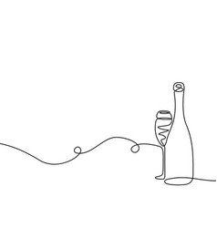 Continuous one line drawing champagne with a glass vector