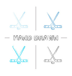 Crossed hockey sticks with puck hand drawn icons vector