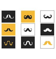 curly mustache square button icons set vector image