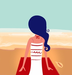 Cute summer girl on beach vector