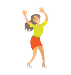 dancing lady woman shaking body on music isolated vector image