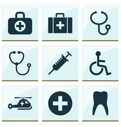 drug icons set with medical sign body check vector image