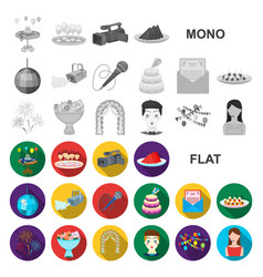 Event organisation flat icons in set collection vector