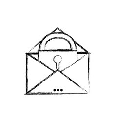 figure e-mail mesage with padlock insite to vector image